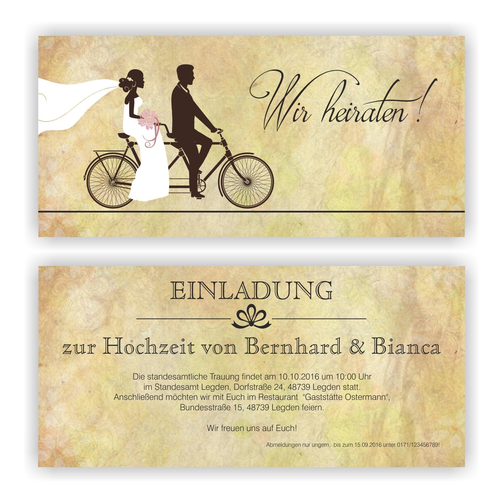 Einladung zur Hochzeit l Einladungskarte