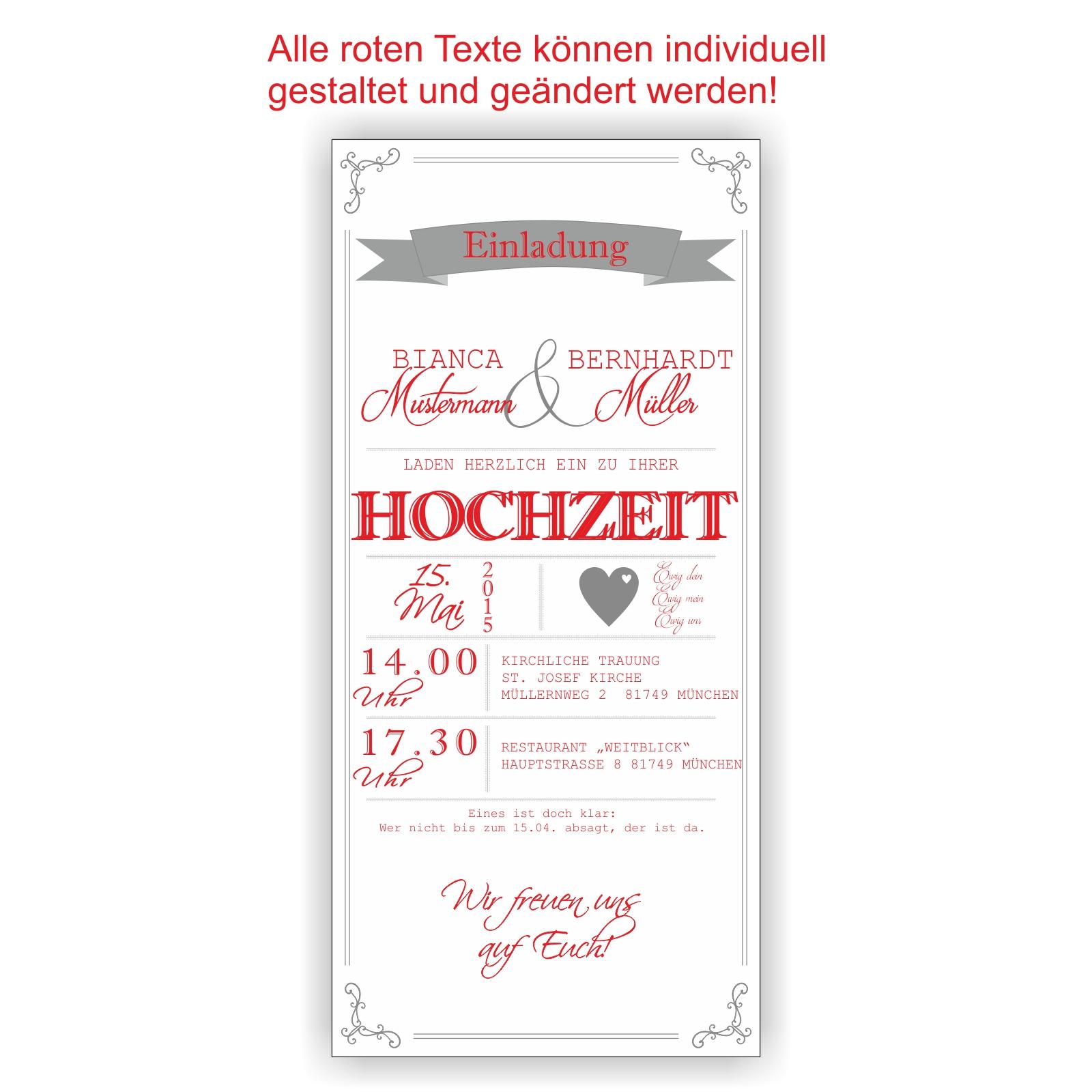 Einladung zur Hochzeit Einladungskarte Hochzeitseinladung Wedding HO18