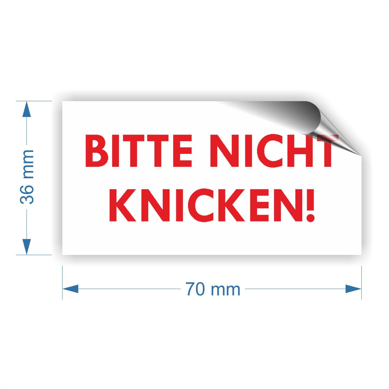 aufkleber etiketten bitte nicht knicken 70x36mm 24st ck. Black Bedroom Furniture Sets. Home Design Ideas